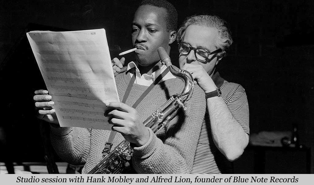 Studio session with Hank Mobley and Alfred Lion, founder of Blue Note Records