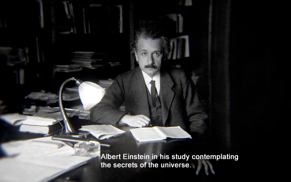 Albert Einstein in his study